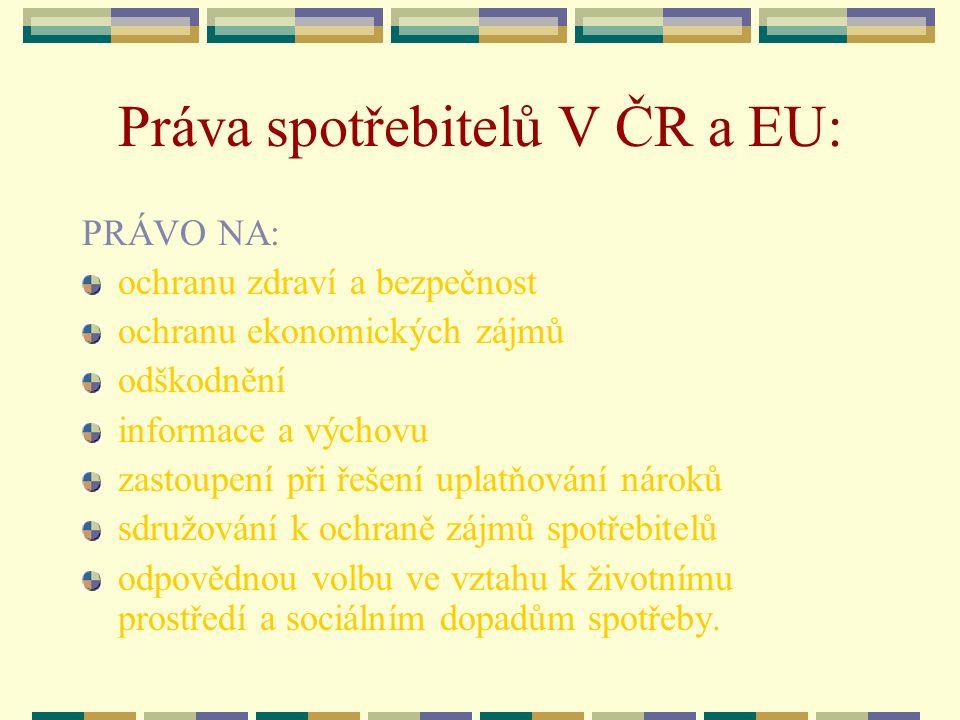 Práva spotřebitelů V ČR a EU: PRÁVO NA: ochranu zdraví a bezpečnost ochranu ekonomických zájmů odškodnění informace a výchovu zastoupení při řešení up