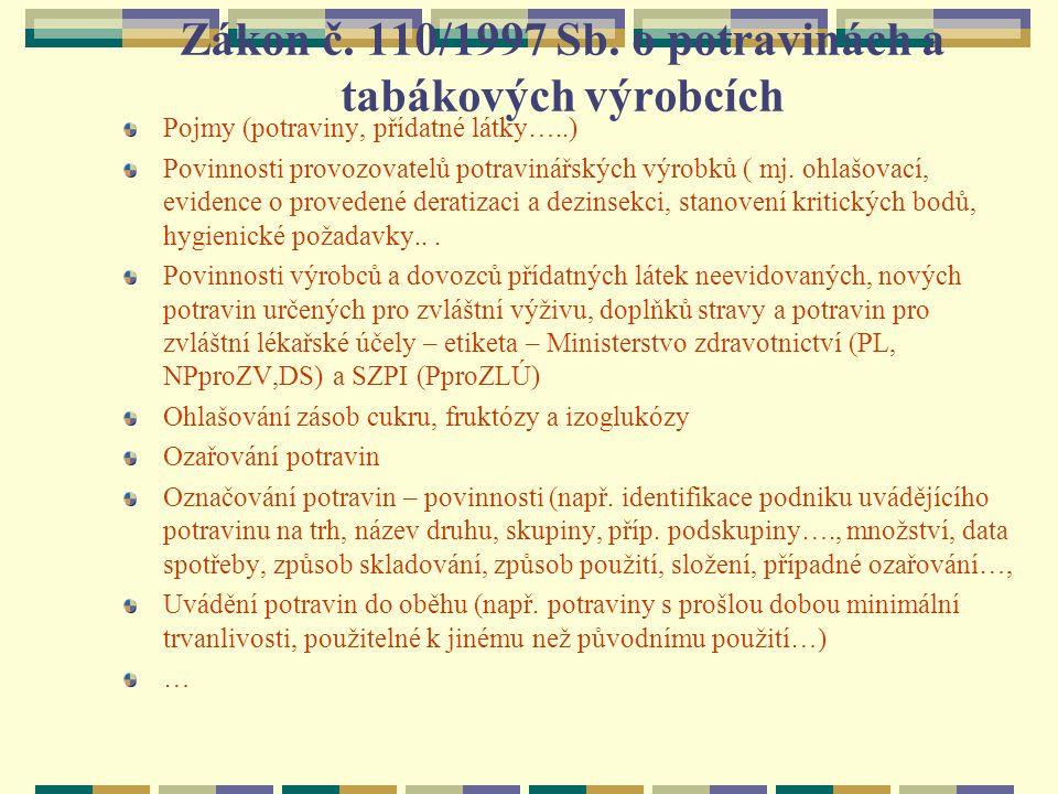 Zákon č. 110/1997 Sb. o potravinách a tabákových výrobcích Pojmy (potraviny, přídatné látky…..) Povinnosti provozovatelů potravinářských výrobků ( mj.