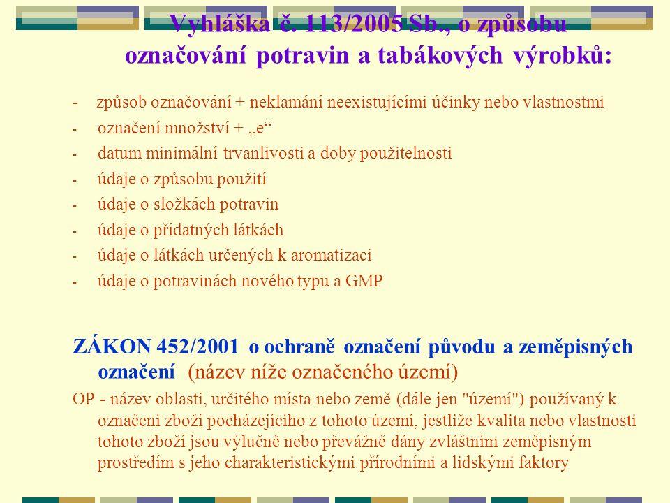 Vyhláška č. 113/2005 Sb., o způsobu označování potravin a tabákových výrobků: - způsob označování + neklamání neexistujícími účinky nebo vlastnostmi -
