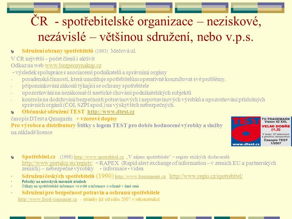 ČR - spotřebitelské organizace – neziskové, nezávislé – většinou sdružení, nebo v.p.s. Sdružení obrany spotřebitelů (1993) Mečová ul. V ČR největší –