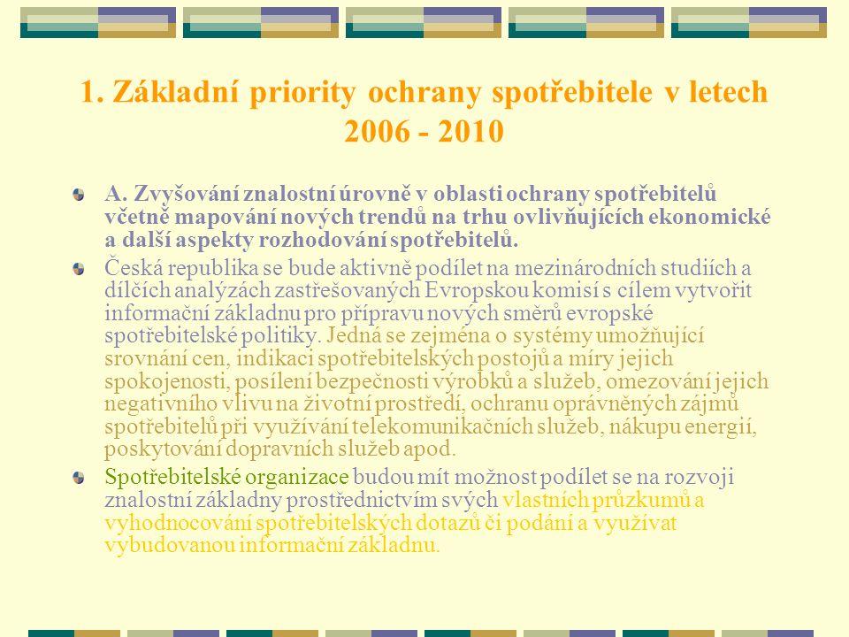 1. Základní priority ochrany spotřebitele v letech 2006 - 2010 A. Zvyšování znalostní úrovně v oblasti ochrany spotřebitelů včetně mapování nových tre