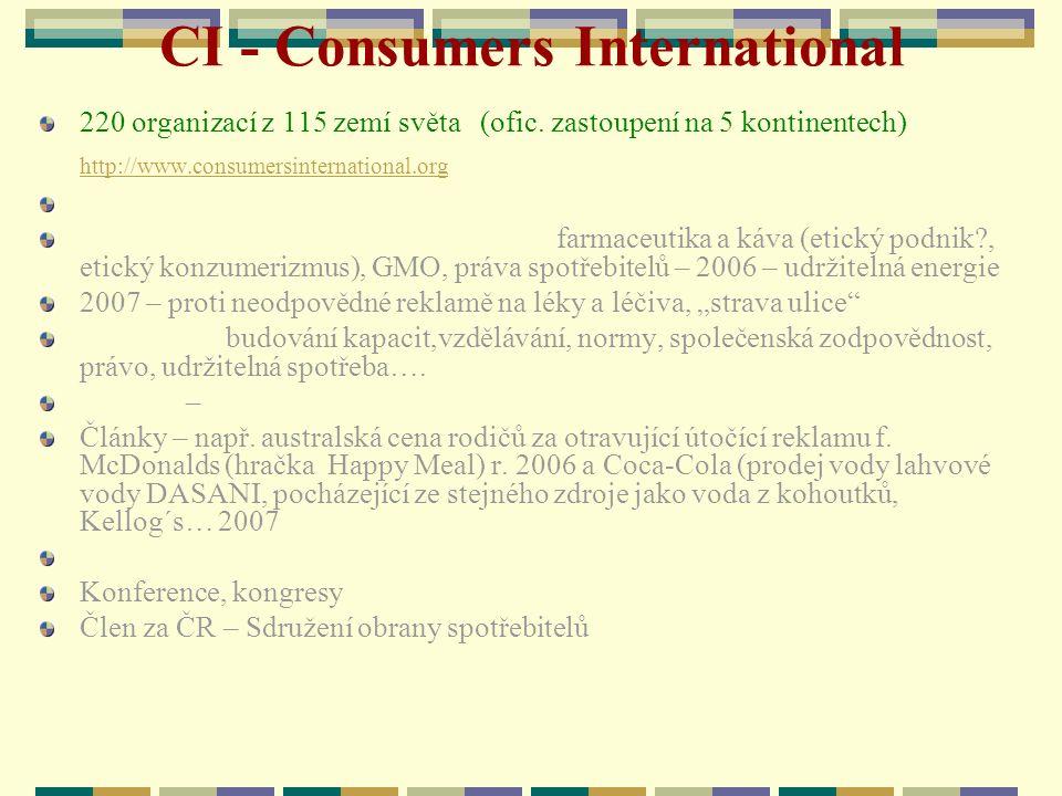 CI - Consumers International 220 organizací z 115 zemí světa (ofic. zastoupení na 5 kontinentech) http://www.consumersinternational.org http://www.con