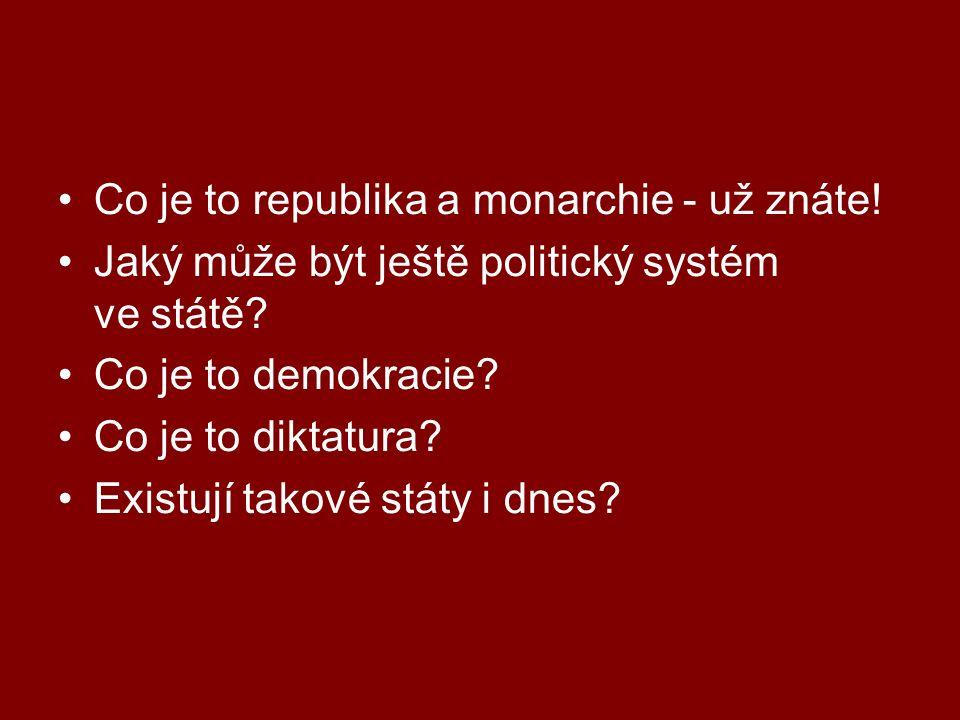 Co je to republika a monarchie - už znáte! Jaký může být ještě politický systém ve státě? Co je to demokracie? Co je to diktatura? Existují takové stá