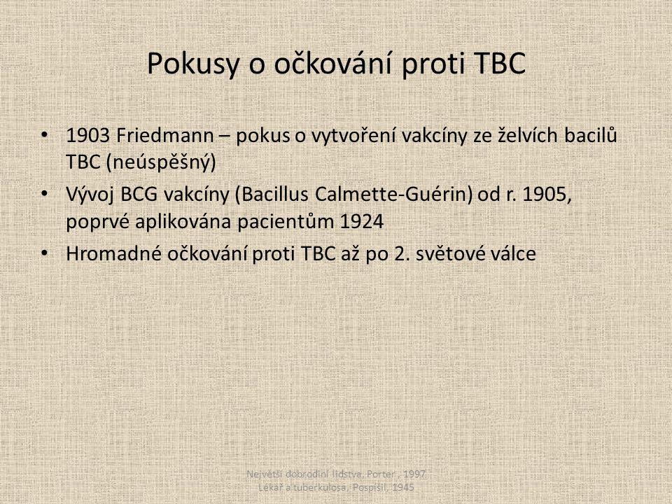 Pokusy o očkování proti TBC 1903 Friedmann – pokus o vytvoření vakcíny ze želvích bacilů TBC (neúspěšný) Vývoj BCG vakcíny (Bacillus Calmette-Guérin) od r.