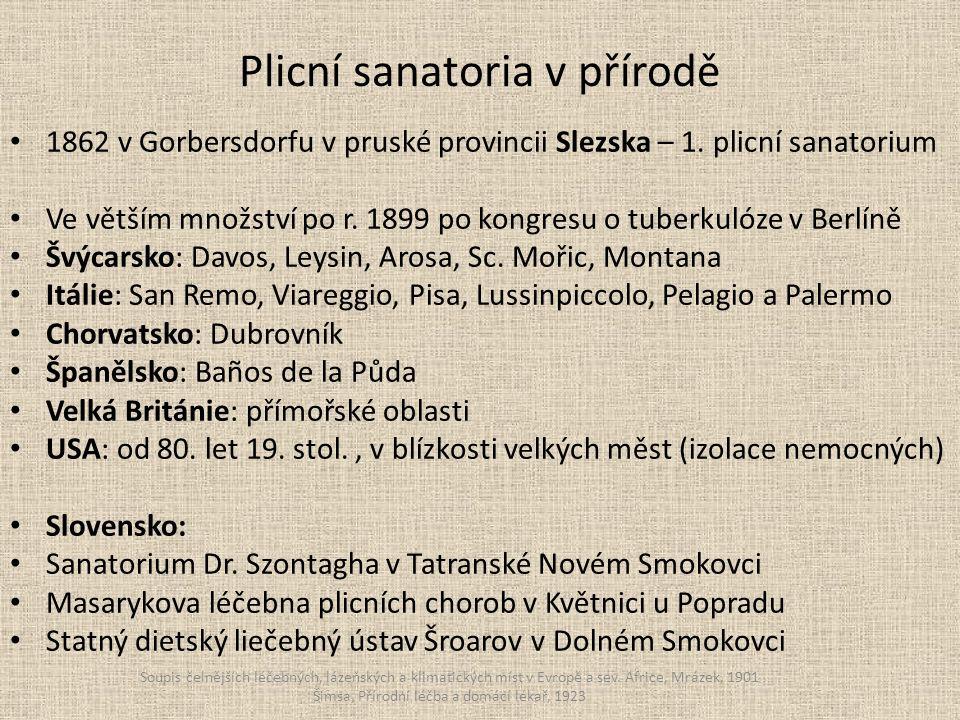 Plicní sanatoria v přírodě 1862 v Gorbersdorfu v pruské provincii Slezska – 1.