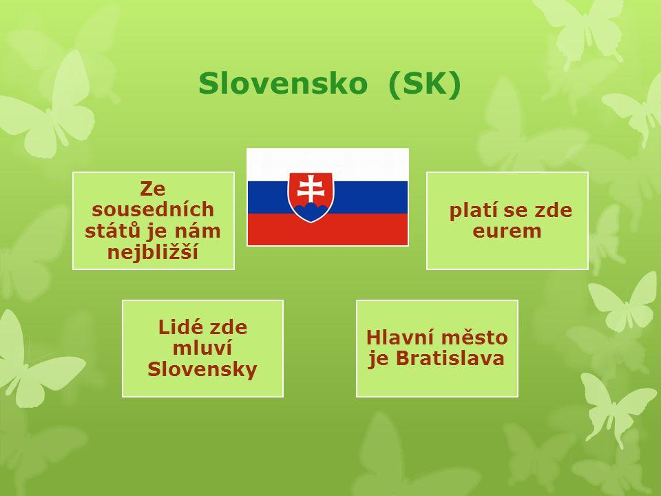 Slovensko (SK) Ze sousedních států je nám nejbližší Lidé zde mluví Slovensky platí se zde eurem Hlavní město je Bratislava
