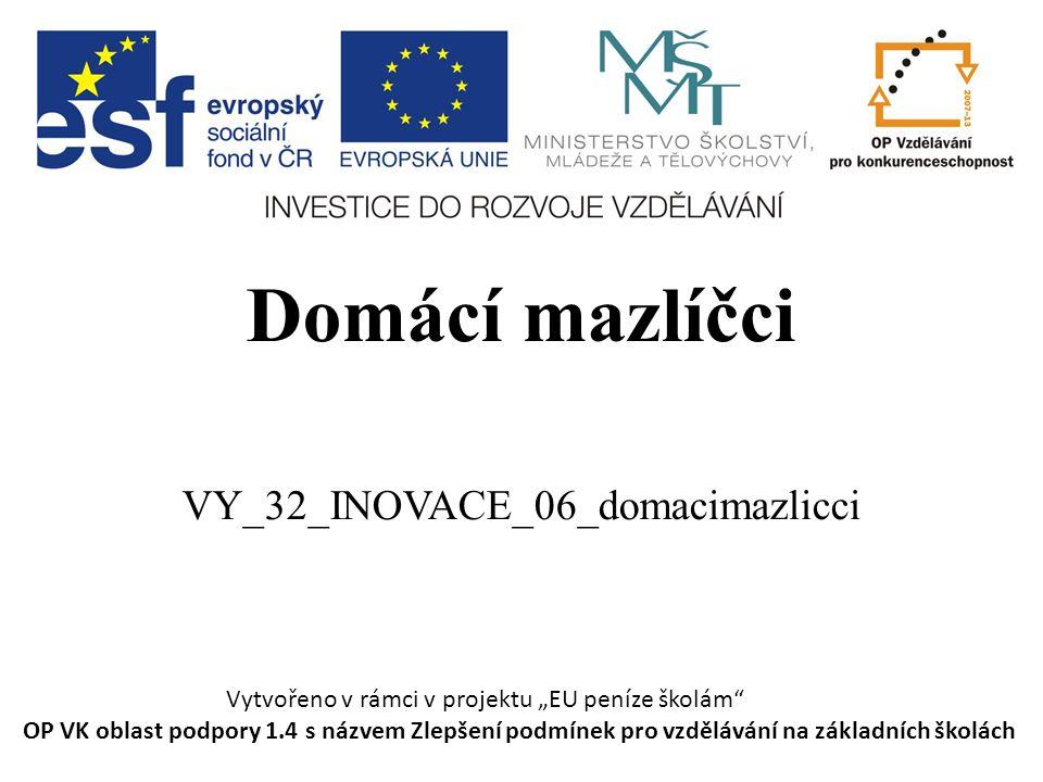 """Domácí mazlíčci VY_32_INOVACE_06_domacimazlicci Vytvořeno v rámci v projektu """"EU peníze školám OP VK oblast podpory 1.4 s názvem Zlepšení podmínek pro vzdělávání na základních školách"""