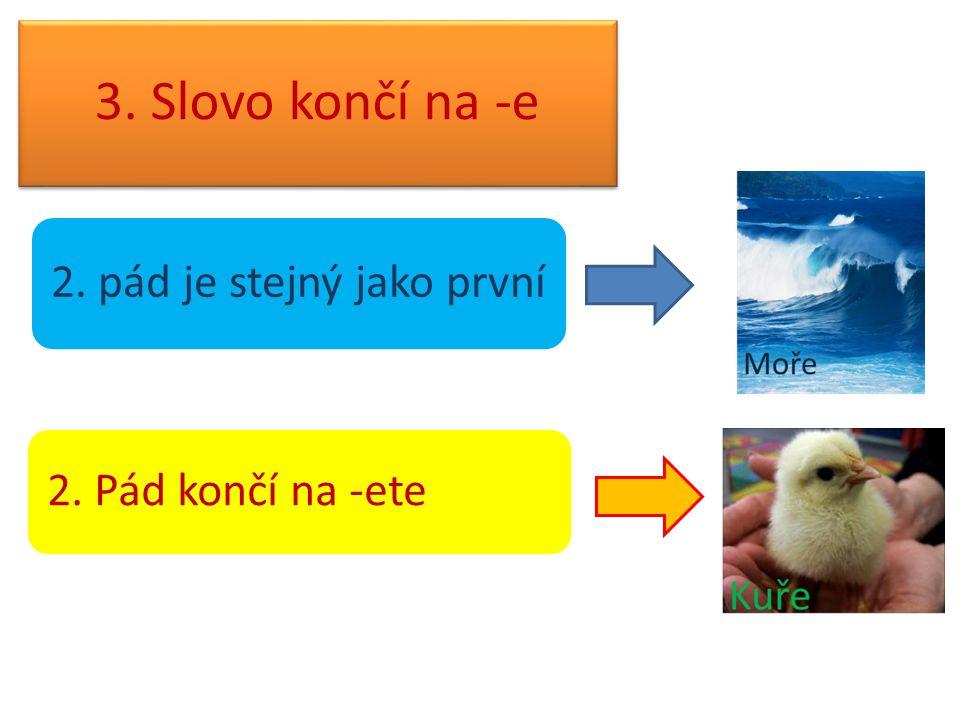 3. Slovo končí na -e 2. pád je stejný jako první 2. Pád končí na -ete