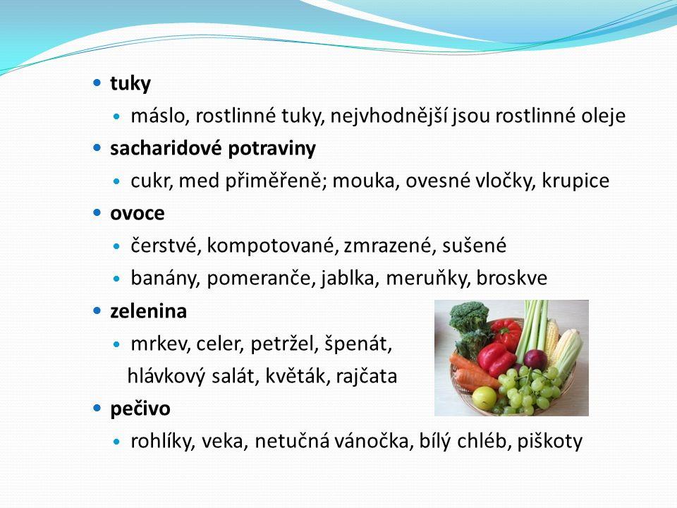 tuky máslo, rostlinné tuky, nejvhodnější jsou rostlinné oleje sacharidové potraviny cukr, med přiměřeně; mouka, ovesné vločky, krupice ovoce čerstvé, kompotované, zmrazené, sušené banány, pomeranče, jablka, meruňky, broskve zelenina mrkev, celer, petržel, špenát, hlávkový salát, květák, rajčata pečivo rohlíky, veka, netučná vánočka, bílý chléb, piškoty