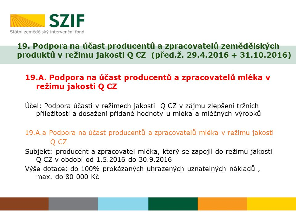 19. Podpora na účast producentů a zpracovatelů zemědělských produktů v režimu jakosti Q CZ (před.ž. 29.4.2016 + 31.10.2016) 19.A. Podpora na účast pro