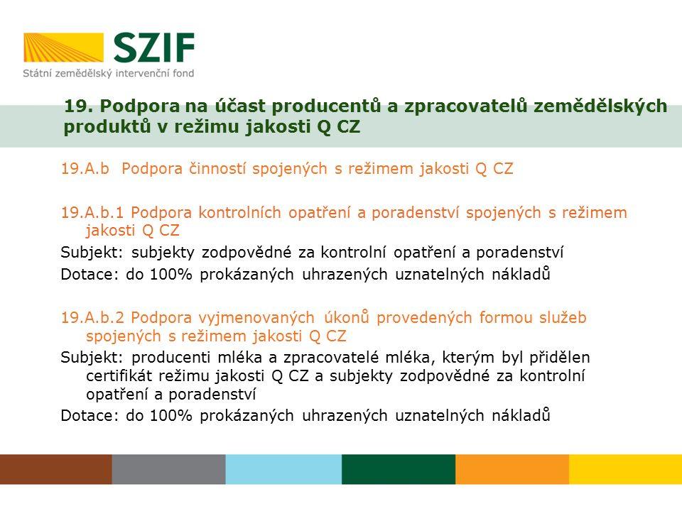 19. Podpora na účast producentů a zpracovatelů zemědělských produktů v režimu jakosti Q CZ 19.A.b Podpora činností spojených s režimem jakosti Q CZ 19