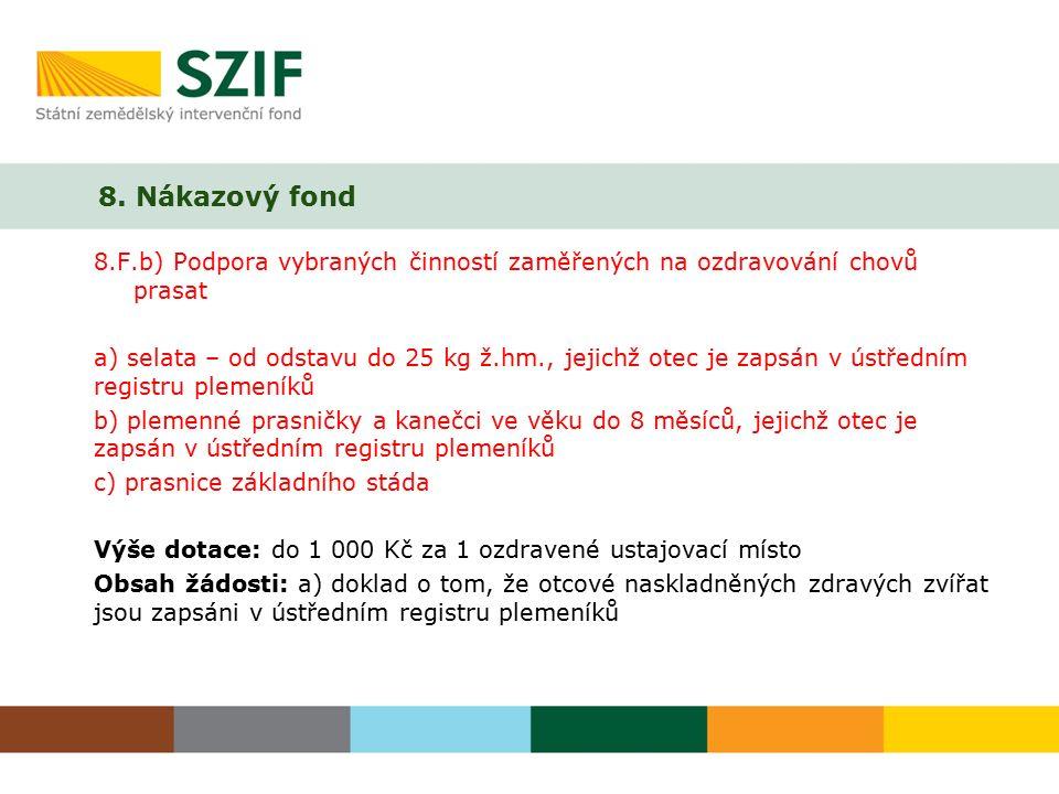 8. Nákazový fond 8.F.b) Podpora vybraných činností zaměřených na ozdravování chovů prasat a) selata – od odstavu do 25 kg ž.hm., jejichž otec je zapsá