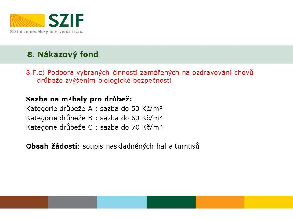 8. Nákazový fond 8.F.c) Podpora vybraných činností zaměřených na ozdravování chovů drůbeže zvýšením biologické bezpečnosti Sazba na m²haly pro drůbež: