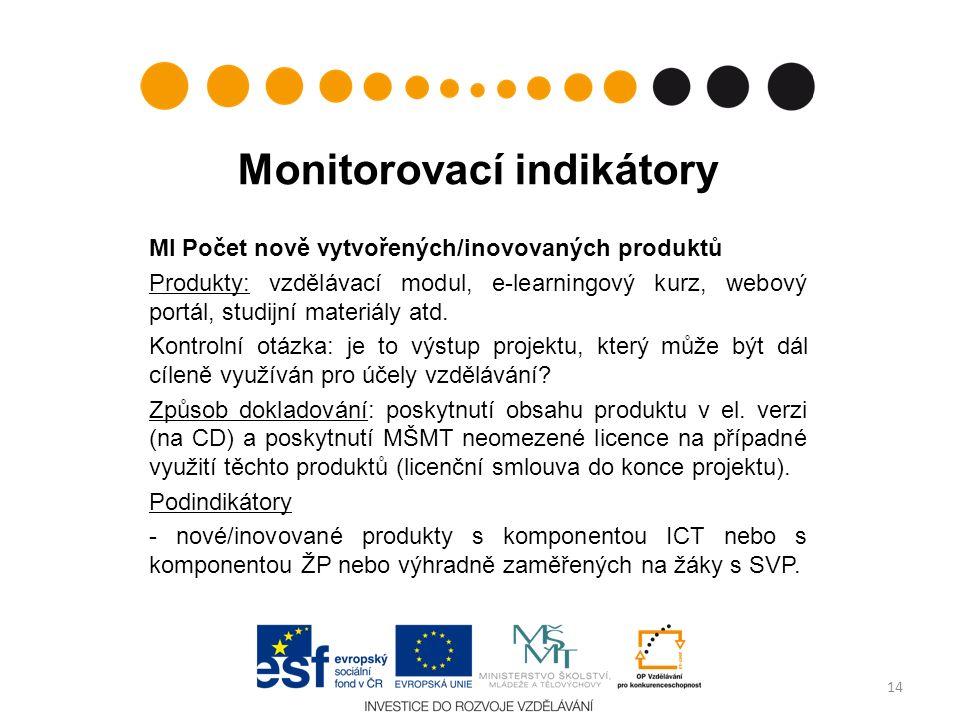 Monitorovací indikátory MI Počet nově vytvořených/inovovaných produktů Produkty: vzdělávací modul, e-learningový kurz, webový portál, studijní materiály atd.