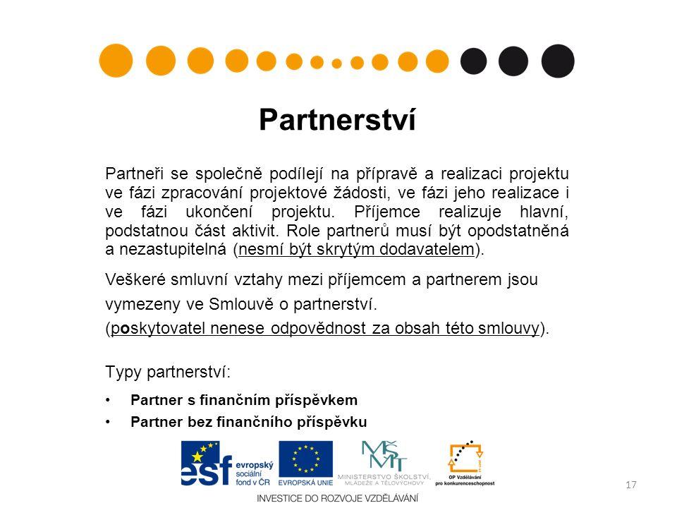 Partnerství Partneři se společně podílejí na přípravě a realizaci projektu ve fázi zpracování projektové žádosti, ve fázi jeho realizace i ve fázi ukončení projektu.
