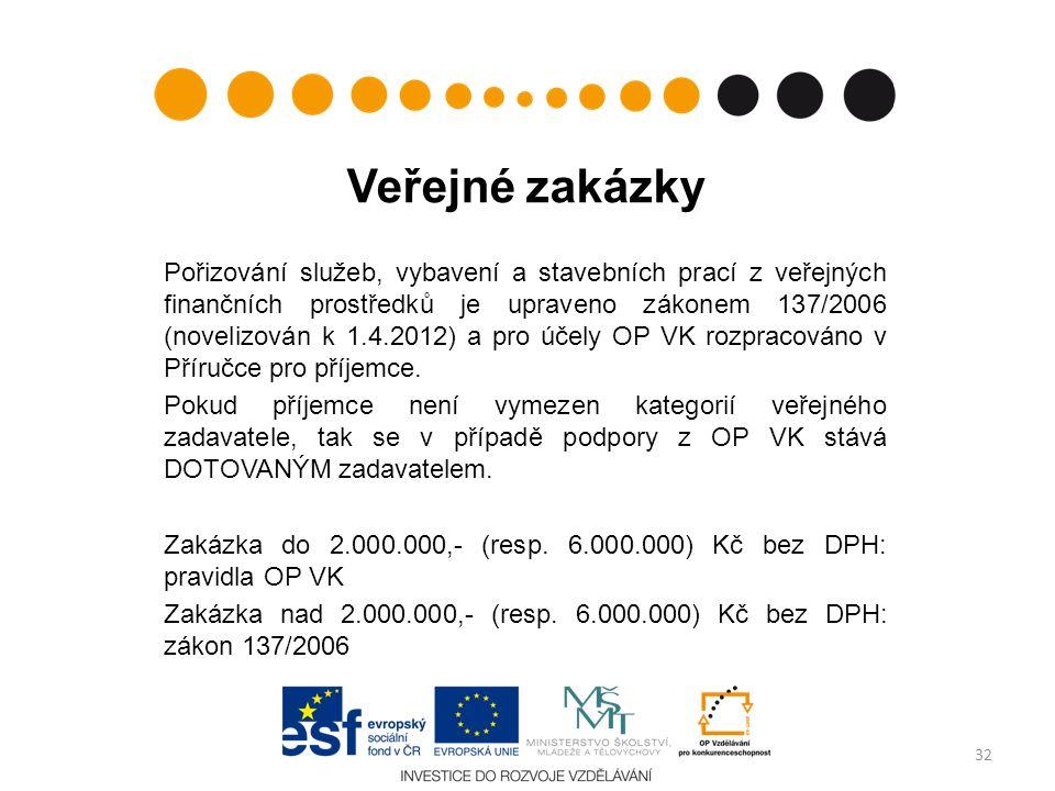 Veřejné zakázky Pořizování služeb, vybavení a stavebních prací z veřejných finančních prostředků je upraveno zákonem 137/2006 (novelizován k 1.4.2012) a pro účely OP VK rozpracováno v Příručce pro příjemce.