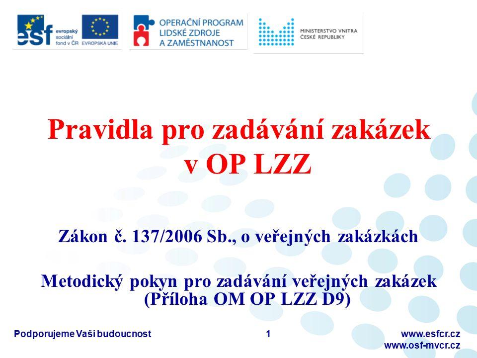 Pravidla pro zadávání zakázek v OP LZZ Zákon č. 137/2006 Sb., o veřejných zakázkách Metodický pokyn pro zadávání veřejných zakázek (Příloha OM OP LZZ