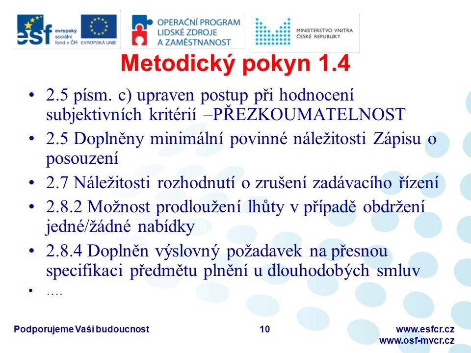 Metodický pokyn 1.4 2.5 písm. c) upraven postup při hodnocení subjektivních kritérií –PŘEZKOUMATELNOST 2.5 Doplněny minimální povinné náležitosti Zápi