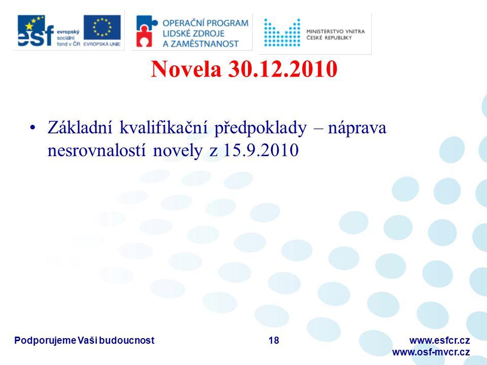 Novela 30.12.2010 Základní kvalifikační předpoklady – náprava nesrovnalostí novely z 15.9.2010 18Podporujeme Vaši budoucnostwww.esfcr.cz www.osf-mvcr.