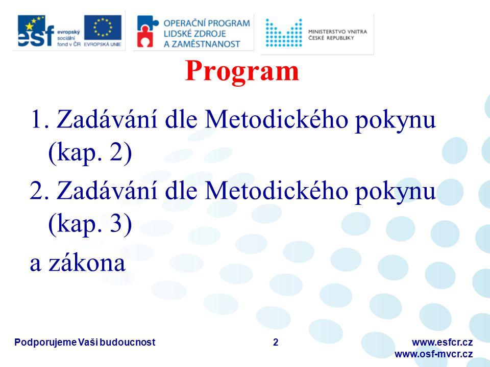 Program 1. Zadávání dle Metodického pokynu (kap. 2) 2. Zadávání dle Metodického pokynu (kap. 3) a zákona Podporujeme Vaši budoucnostwww.esfcr.cz www.o