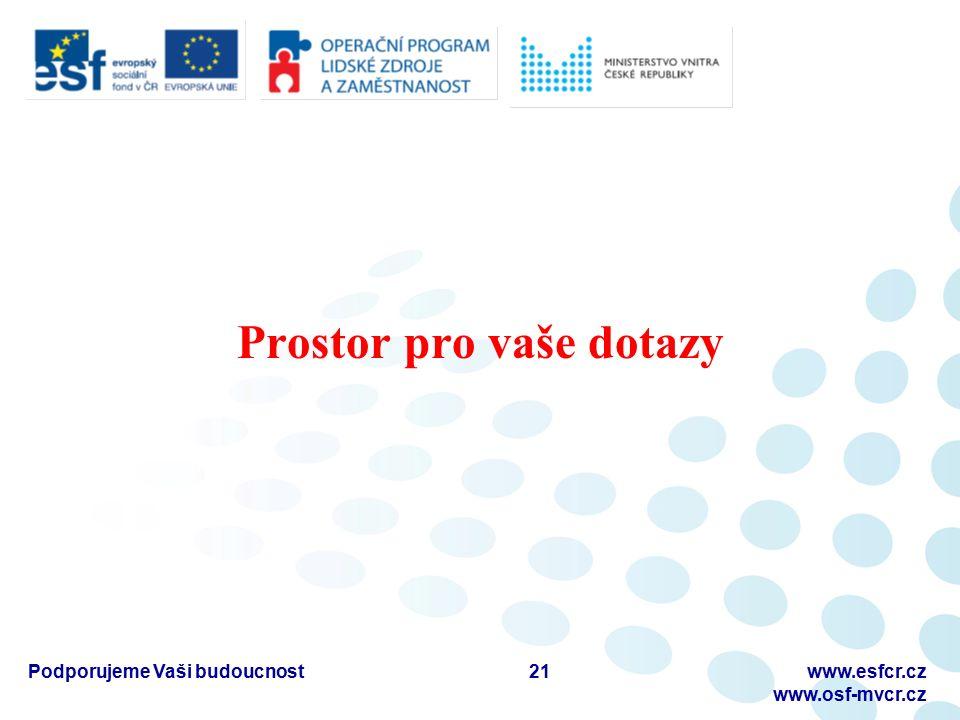 Prostor pro vaše dotazy Podporujeme Vaši budoucnostwww.esfcr.cz www.osf-mvcr.cz 21