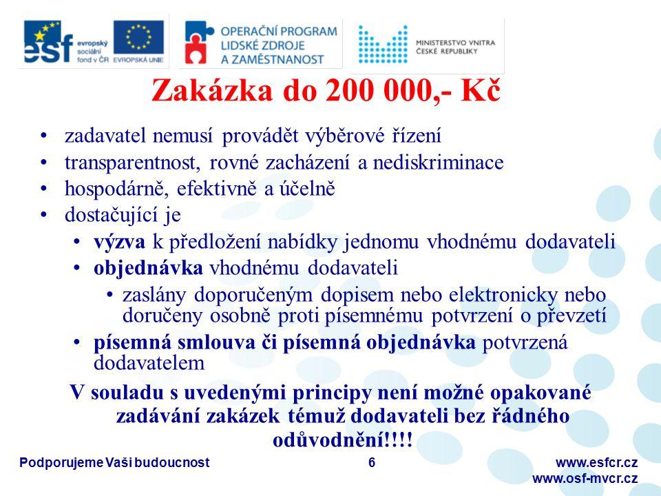 Zakázka do 200 000,- Kč zadavatel nemusí provádět výběrové řízení transparentnost, rovné zacházení a nediskriminace hospodárně, efektivně a účelně dos