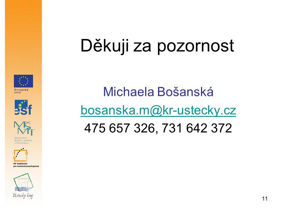 11 Děkuji za pozornost Michaela Bošanská bosanska.m@kr-ustecky.cz 475 657 326, 731 642 372