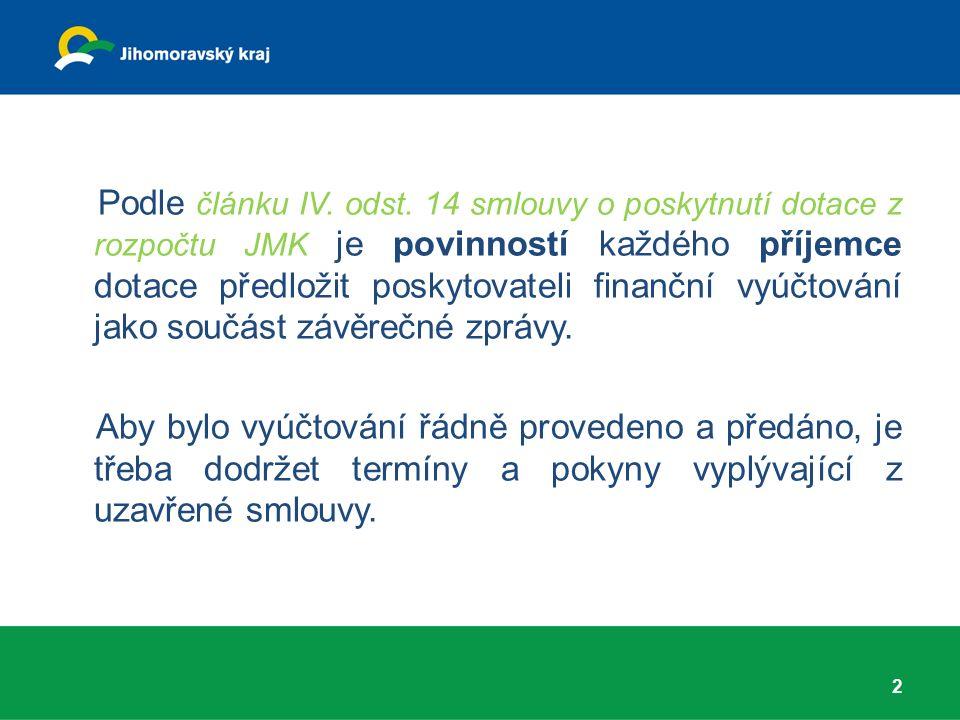 Podle článku IV. odst. 14 smlouvy o poskytnutí dotace z rozpočtu JMK je povinností každého příjemce dotace předložit poskytovateli finanční vyúčtování