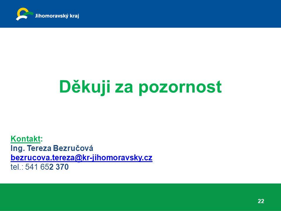 Děkuji za pozornost Kontakt: Ing. Tereza Bezručová bezrucova.tereza@kr-jihomoravsky.cz tel.: 541 652 370 22