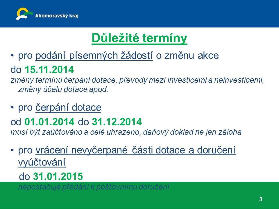Důležité termíny pro podání písemných žádostí o změnu akce do 15.11.2014 změny termínu čerpání dotace, převody mezi investicemi a neinvesticemi, změny