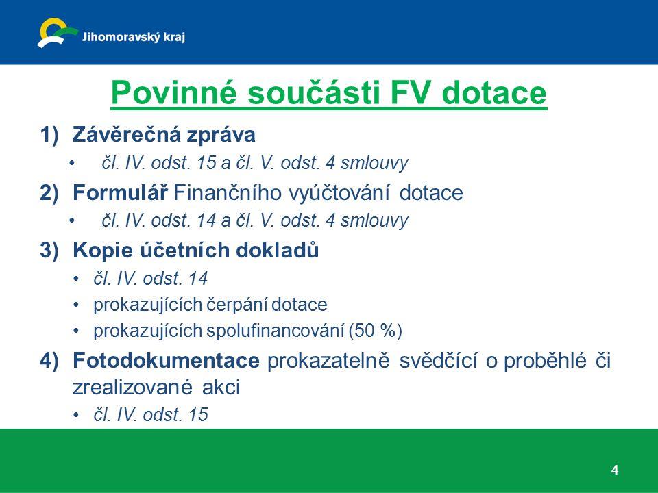 Povinné součásti FV dotace 1)Závěrečná zpráva čl. IV. odst. 15 a čl. V. odst. 4 smlouvy 2)Formulář Finančního vyúčtování dotace čl. IV. odst. 14 a čl.