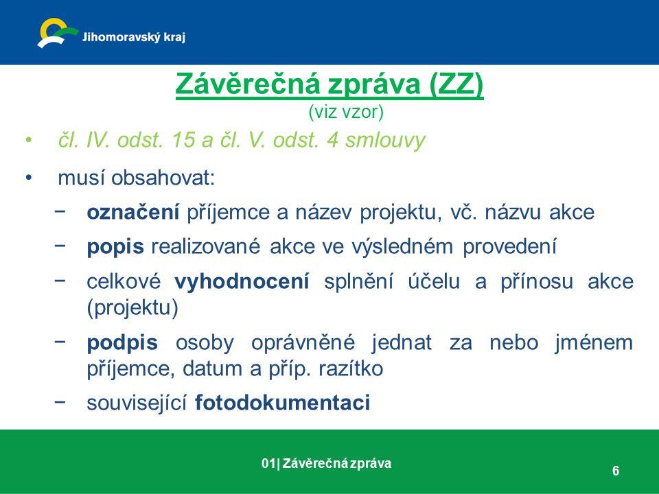 Závěrečná zpráva (ZZ) (viz vzor) čl. IV. odst. 15 a čl. V. odst. 4 smlouvy musí obsahovat: −označení příjemce a název projektu, vč. názvu akce −popis