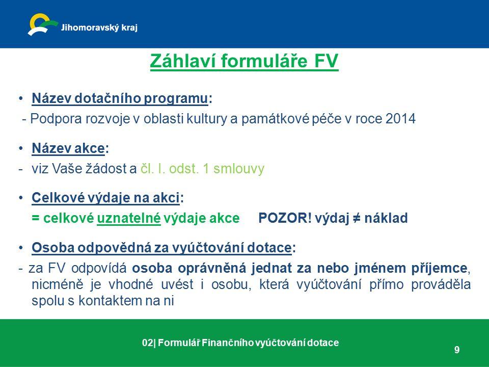 Záhlaví formuláře FV Název dotačního programu: - Podpora rozvoje v oblasti kultury a památkové péče v roce 2014 Název akce: -viz Vaše žádost a čl. I.