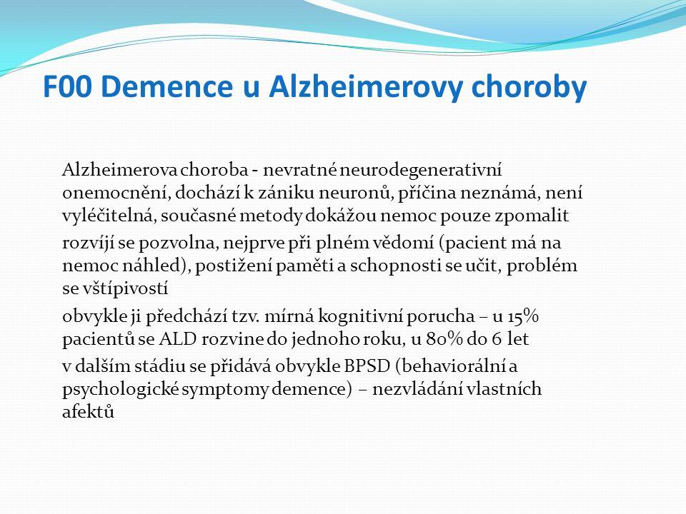 F00 Demence u Alzheimerovy choroby Alzheimerova choroba - nevratné neurodegenerativní onemocnění, dochází k zániku neuronů, příčina neznámá, není vyléčitelná, současné metody dokážou nemoc pouze zpomalit rozvíjí se pozvolna, nejprve při plném vědomí (pacient má na nemoc náhled), postižení paměti a schopnosti se učit, problém se vštípivostí obvykle ji předchází tzv.