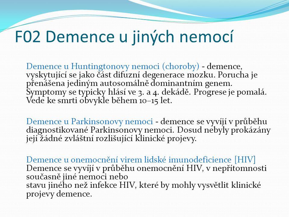 F02 Demence u jiných nemocí Demence u Huntingtonovy nemoci (choroby) - demence' vyskytující se jako část difuzní degenerace mozku. Porucha je přenášen
