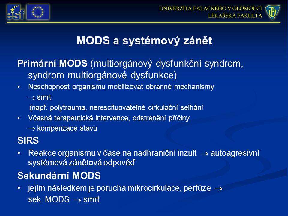 MODS a systémový zánět Primární MODS (multiorgánový dysfunkční syndrom, syndrom multiorgánové dysfunkce) Neschopnost organismu mobilizovat obranné mechanismy  smrt (např.
