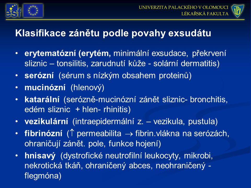 Klasifikace zánětu podle povahy exsudátu erytematózní (erytém, minimální exsudace, překrvení sliznic – tonsilitis, zarudnutí kůže - solární dermatitis) serózní (sérum s nízkým obsahem proteinů) mucinózní (hlenový) katarální (serózně-mucinózní zánět sliznic- bronchitis, edém sliznic + hlen- rhinitis) vezikulární (intraepidermální z.