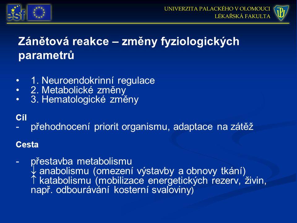 Zánětová reakce – změny fyziologických parametrů 1. Neuroendokrinní regulace 2. Metabolické změny 3. Hematologické změny Cíl -přehodnocení priorit org