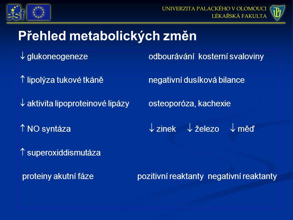 Přehled metabolických změn  glukoneogeneze odbourávání kosterní svaloviny  lipolýza tukové tkáně negativní dusíková bilance  aktivita lipoproteinové lipázy osteoporóza, kachexie  NO syntáza  zinek  železo  měď  superoxiddismutáza proteiny akutní fázepozitivní reaktanty negativní reaktanty