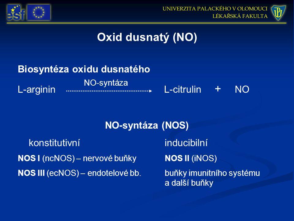 Oxid dusnatý (NO) Biosyntéza oxidu dusnatého L-arginin L-citrulin + NO NO-syntáza (NOS) konstitutivníinducibilní NOS I (ncNOS) – nervové buňky NOS II (iNOS) NOS III (ecNOS) – endotelové bb.buňky imunitního systému a další buňky NO-syntáza