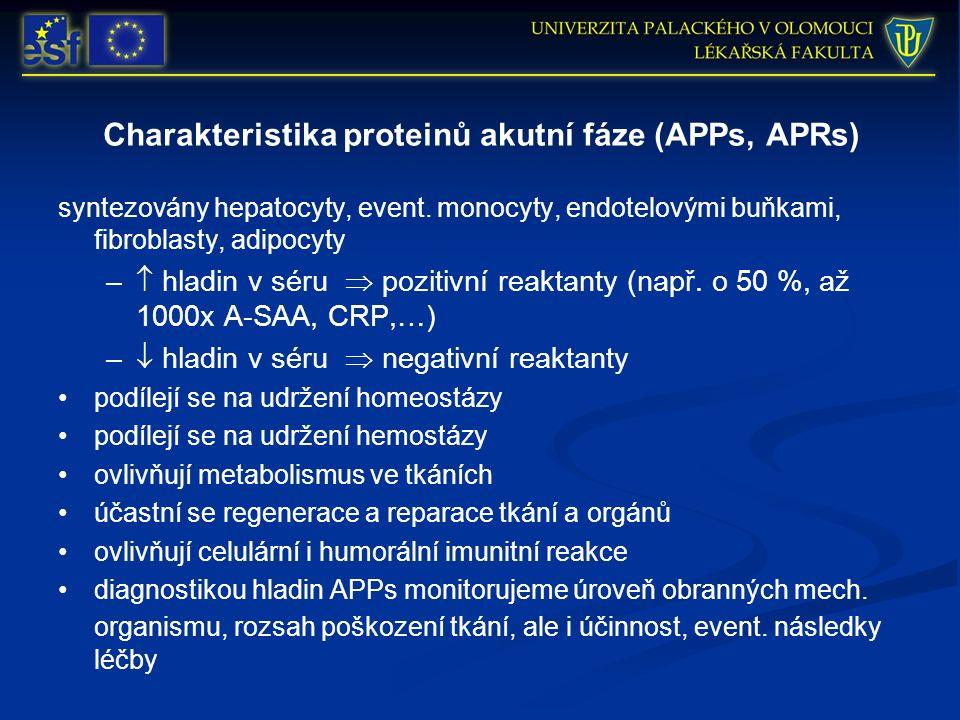 Charakteristika proteinů akutní fáze (APPs, APRs) syntezovány hepatocyty, event. monocyty, endotelovými buňkami, fibroblasty, adipocyty –  hladin v s