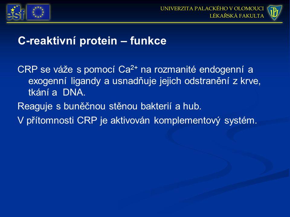 C-reaktivní protein – funkce CRP se váže s pomocí Ca 2+ na rozmanité endogenní a exogenní ligandy a usnadňuje jejich odstranění z krve, tkání a DNA.