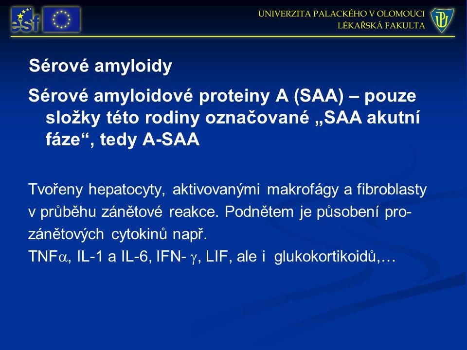 """Sérové amyloidy Sérové amyloidové proteiny A (SAA) – pouze složky této rodiny označované """"SAA akutní fáze"""", tedy A-SAA Tvořeny hepatocyty, aktivovaným"""
