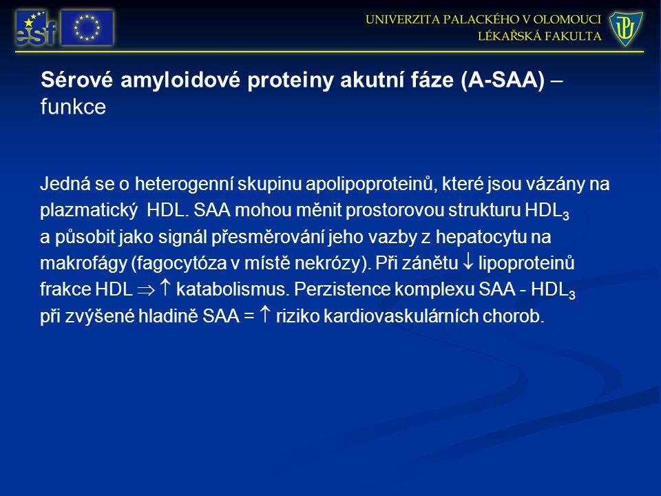 Sérové amyloidové proteiny akutní fáze (A-SAA) – funkce Jedná se o heterogenní skupinu apolipoproteinů, které jsou vázány na plazmatický HDL.