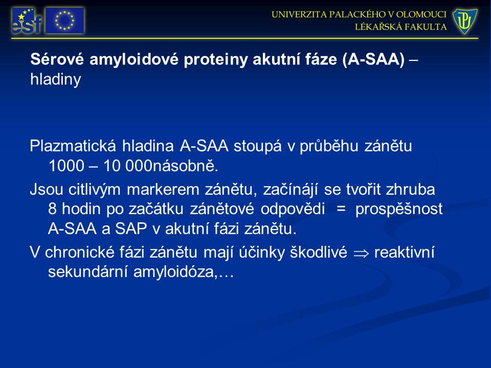 Sérové amyloidové proteiny akutní fáze (A-SAA) – hladiny Plazmatická hladina A-SAA stoupá v průběhu zánětu 1000 – 10 000násobně. Jsou citlivým markere