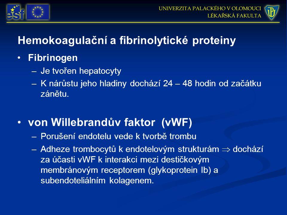Hemokoagulační a fibrinolytické proteiny Fibrinogen –Je tvořen hepatocyty –K nárůstu jeho hladiny dochází 24 – 48 hodin od začátku zánětu. von Willebr