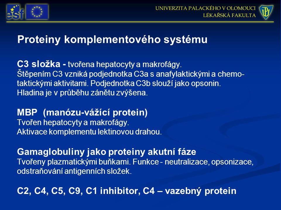 Proteiny komplementového systému C3 složka - tvořena hepatocyty a makrofágy. Štěpením C3 vzniká podjednotka C3a s anafylaktickými a chemo- taktickými