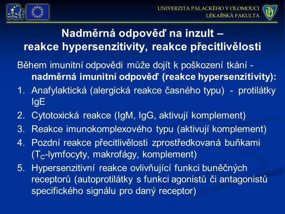 Nadměrná odpověď na inzult – reakce hypersenzitivity, reakce přecitlivělosti Během imunitní odpovědi může dojít k poškození tkání - nadměrná imunitní odpověď (reakce hypersenzitivity): 1.Anafylaktická (alergická reakce časného typu) - protilátky IgE 2.Cytotoxická reakce (IgM, IgG, aktivují komplement) 3.Reakce imunokomplexového typu (aktivují komplement) 4.Pozdní reakce přecitlivělosti zprostředkovaná buňkami (T C -lymfocyty, makrofágy, komplement) 5.Hypersenzitivní reakce ovlivňující funkci buněčných receptorů (autoprotilátky s funkci agonistů či antagonistů specifického signálu pro daný receptor)