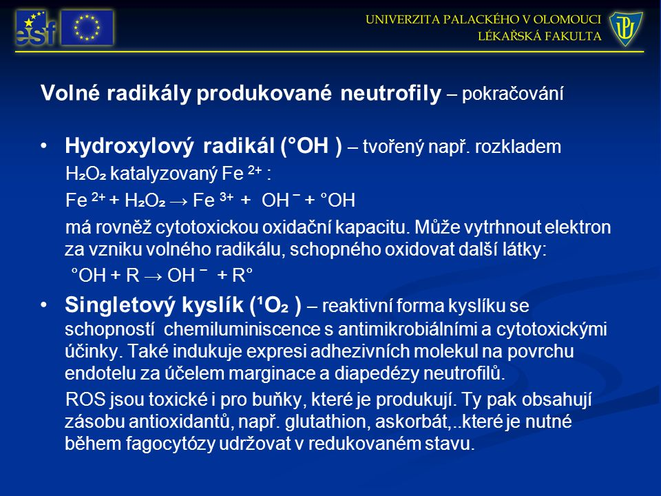 Volné radikály produkované neutrofily – pokračování Hydroxylový radikál (°OH ) – tvořený např. rozkladem H ₂ O ₂ katalyzovaný Fe 2+ : Fe 2+ + H ₂ O ₂
