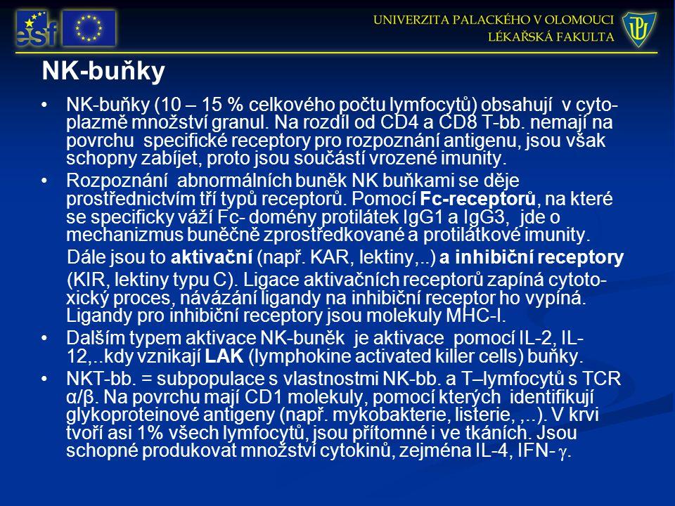 NK-buňky NK-buňky (10 – 15 % celkového počtu lymfocytů) obsahují v cyto- plazmě množství granul. Na rozdíl od CD4 a CD8 T-bb. nemají na povrchu specif